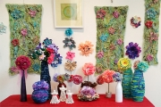 Christmas textile art floral display