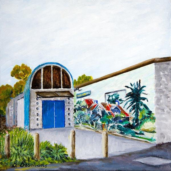 Painting of Peninsula Arts Society studio building by Barbara Bosmans..