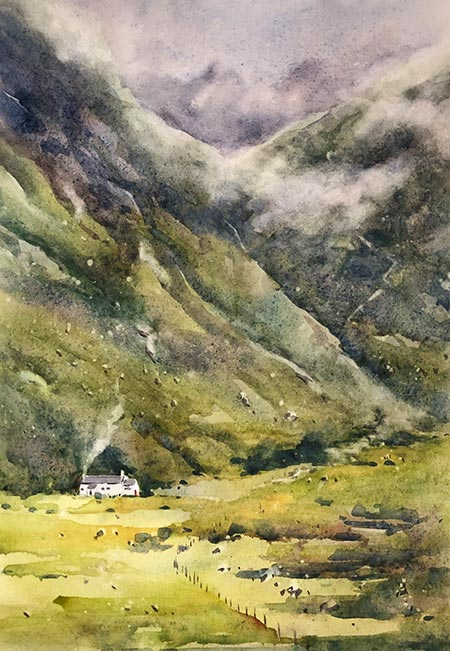Watercolour painting of a small white house against the mountains of the Scottish Highlands by Vivi Palegeorge.