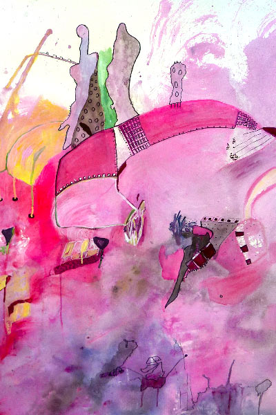Detail from a demo painting in water based media by Catherine Lawlor