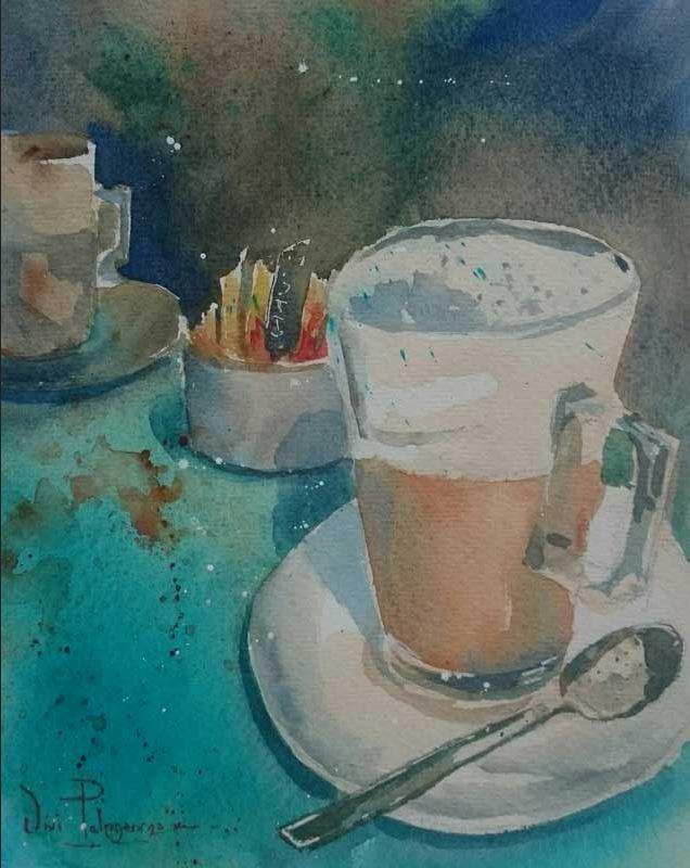 Coffee Time - watercolour by Vivi Palegeorge