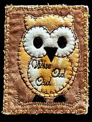 Artist trading card featuring fabric owl
