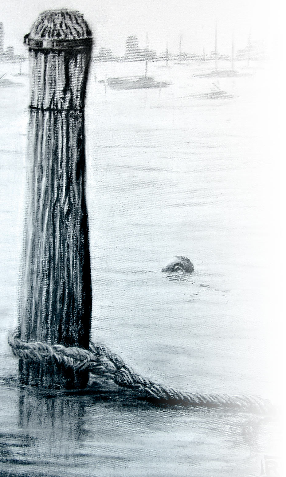 Graphite drawing of bollard and rope in the water, by Ruth Quinn, tinted blue-green
