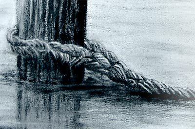 Graphite drawing of a weathered bollard in water with rope, by Ruth Quinn