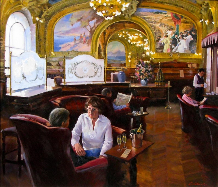 'Blue Train', oil painting of old world cafe interior with patrons, by Bill Caldwell