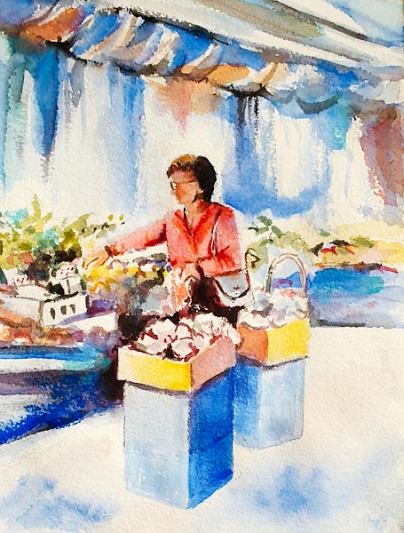 'Careful Selection', watercolour of a lady selecting from a flower stall, class project by Di H