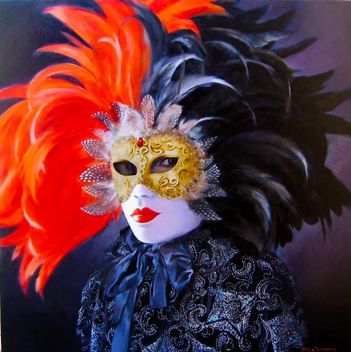 'Carnevale', oil painting of a person in Venetian costume with mask, by Bill Caldwell