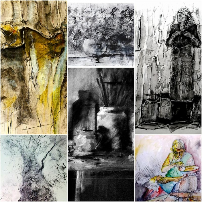 Collage of drawings of figures, still life and trees,by Catherine Hamilton