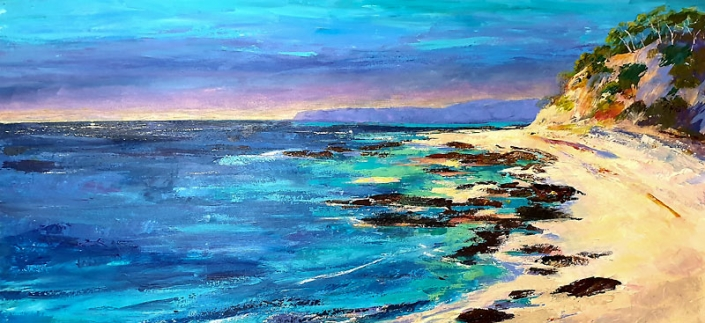 'Coastal Panorama', seascape painting by Catherine Hamilton