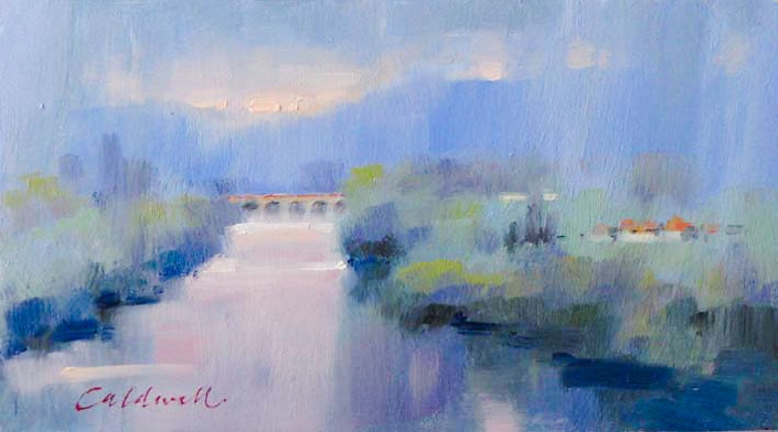 Dordogne, oil painting of river with bridge in misty blues and greens, by Bill Caldwell