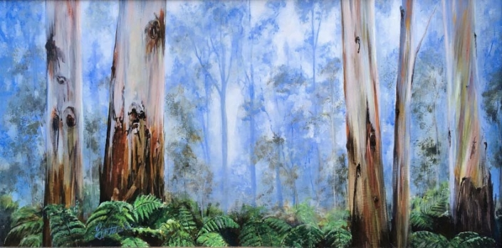 'Forest Light', acrylic painting of a forest featuring eucalyptus trees and ferns, by Fiona Valentine