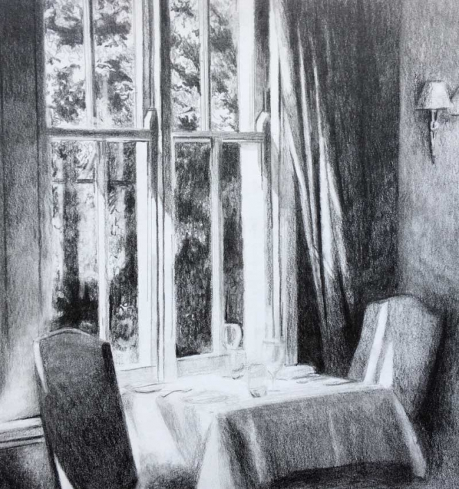 'The Table', a graphite drawing of a dining table near a window, by Fiona Valentine