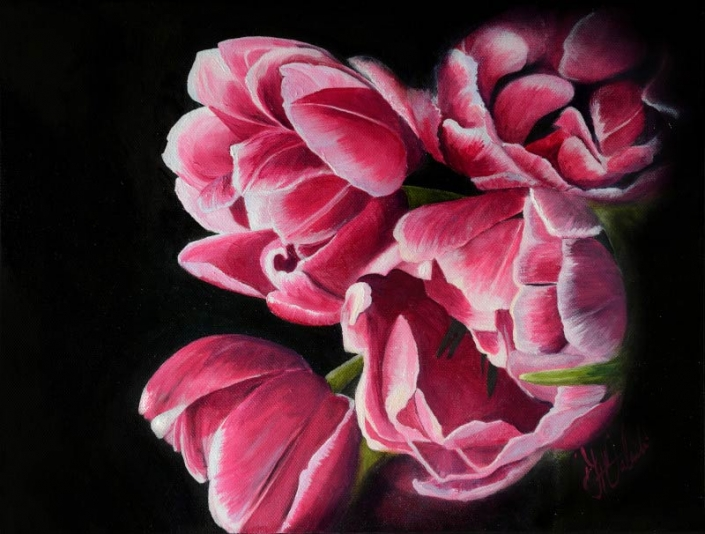 'Petals', oil painting of pink flowers by Fiona Valentine