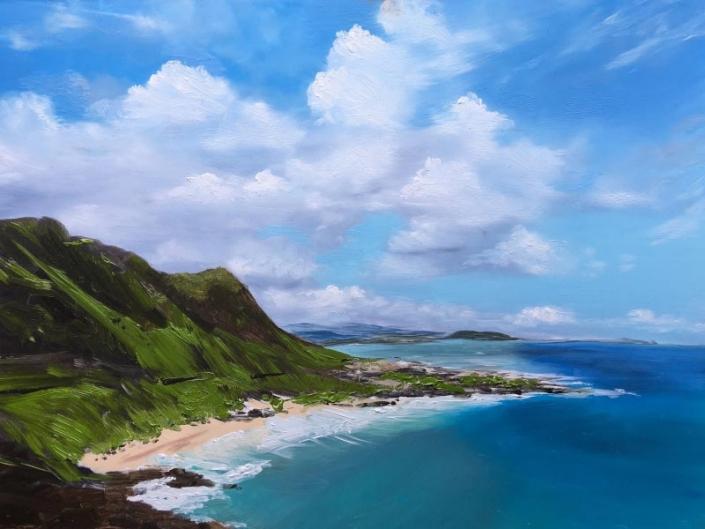 Seascape oil painting of Waimanalo Bay Hawaii, by Fiona Valentine