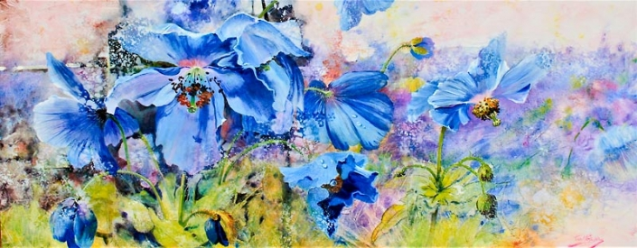 Himalayan Blues, acrylic and watercolour painting of blue flowers, by Julie Goldspink on canvas