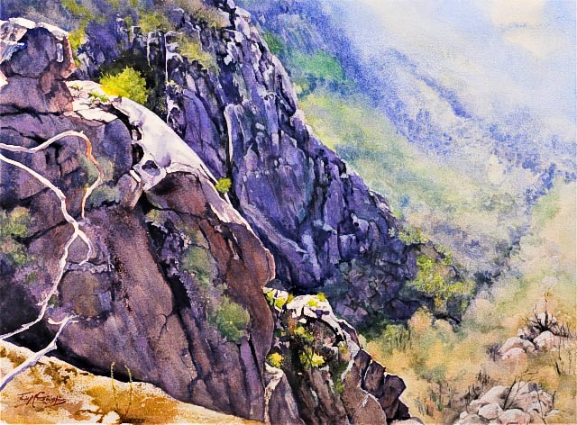 Julie Goldspink - painting titled 'View From Mt Buffalo' - watercolour on Arches watercolour paper