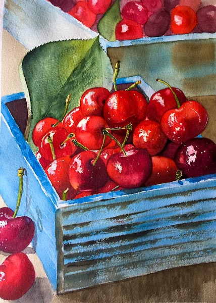 Bright red cherries in a blue box, watercolour class project by Karen Flavel