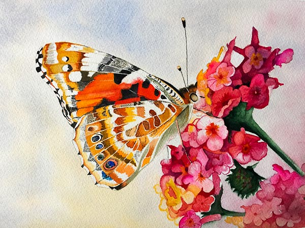 Red, brown and black butterfly on pink and flowers, class project by Karen Flavel