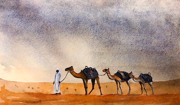 Desert scene with man in Arabian dress and three camels, watercolour class project by Karen Flavel