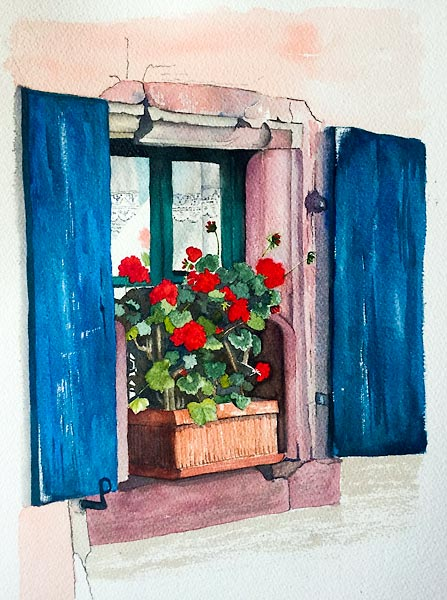 Old window with blue shutters and red geraniums in planter box, watercolour class project by Karen Flavel