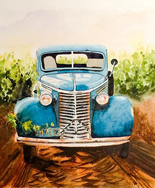 Vintage blue car, watercolour class project by Karen Flavel