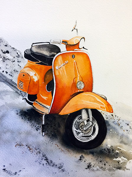 Orange motor scooter, watercolour class project by Karen Flavel