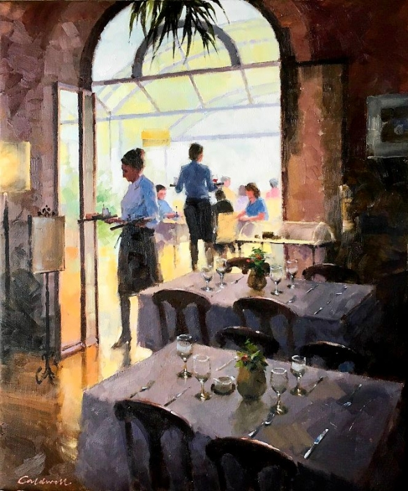 'Lunch at Montepulciano', oil painting of a restaurant interior by Bill Caldwell