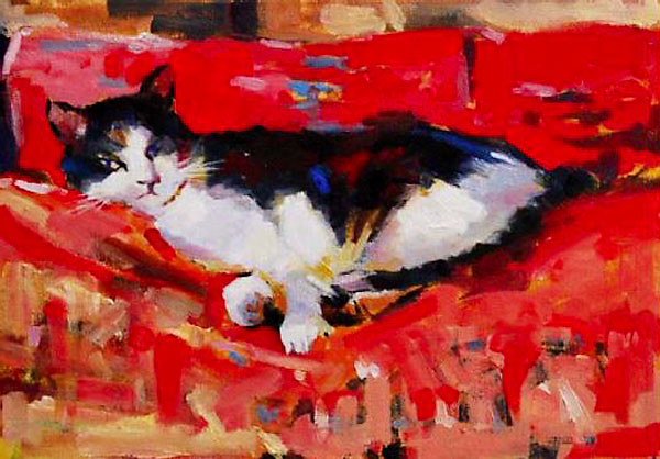 Malcolm Beattie, oil painting f a black and white cat on a red sofa