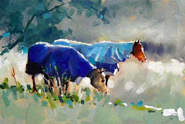 Malcolm Beattie, oil painting of two horses with coats