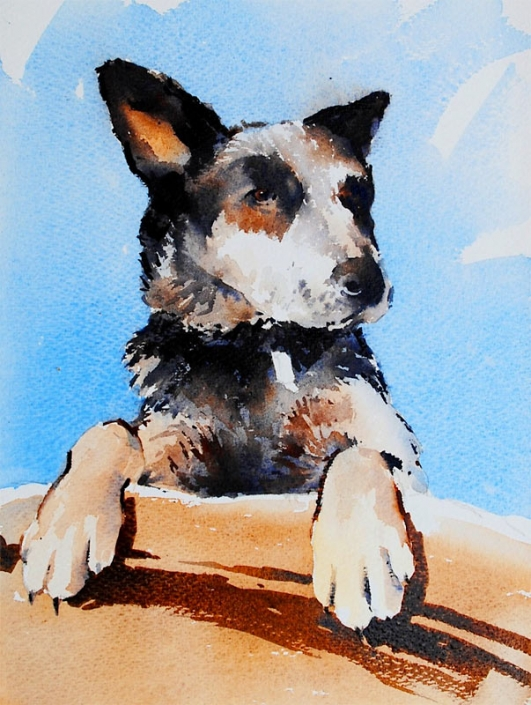 Malcolm Beattie, watercolour painting of a dog