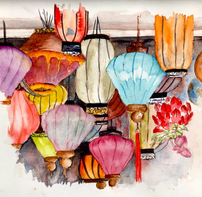 Coloured glass lanterns, watercolour class project by Ros Cutler