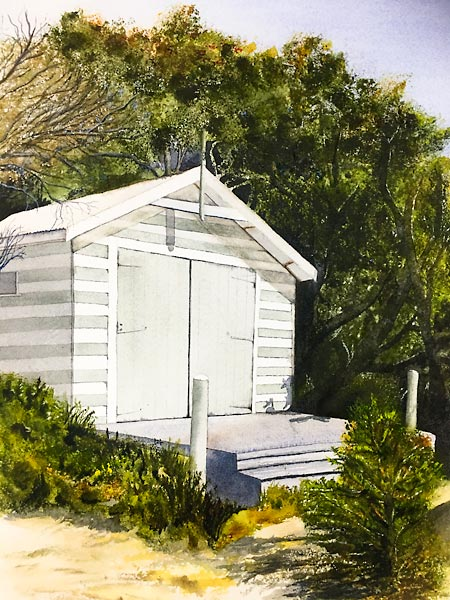 White wooden beach hut surrounded by green foliage, personal watercolour project by Sandra Bain