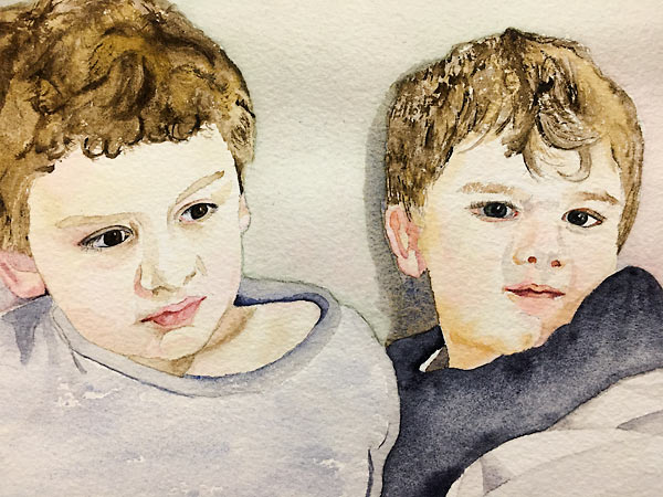 Portrait of two boys, personal watercolour project by Sandra Bain