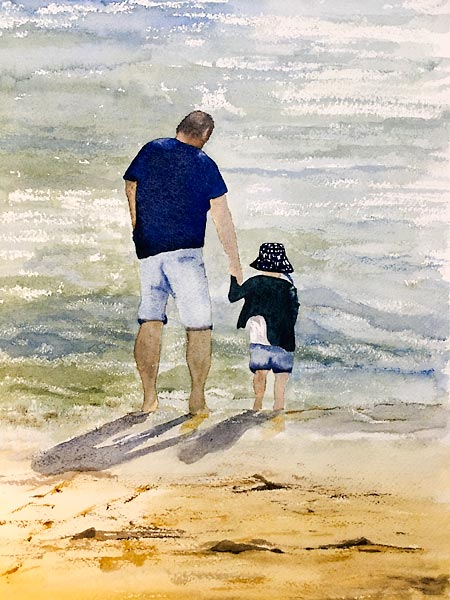 Man and child paddling in the sea, watercolour personal project by Sandra Bain