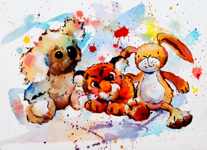 'Snuggle', watercolour painting of children's soft toys by Malcolm Beattie