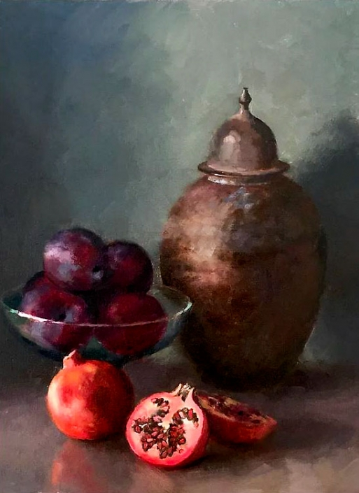 'Still Life With Plums and Pomegranates', oil painting by Bill Caldwell