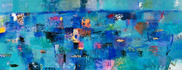 'Channel Lights From The Limeburners Bar', mixed media on canvas featuring shades of blue, by Su Fishpool, 70x180cm