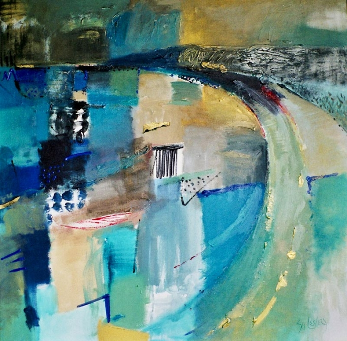 'Triumphant Light', abstract painting featuring blues and golds, by Su Fish pool, 122 X 120cm