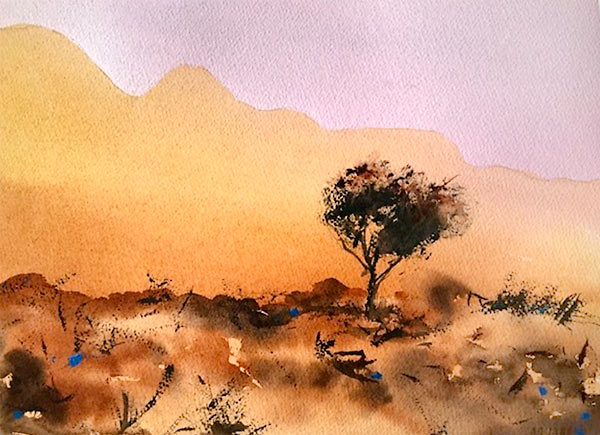 'Wilpena Ranges', watercolour landscape with foreground tree and mountains, class project by Kerry