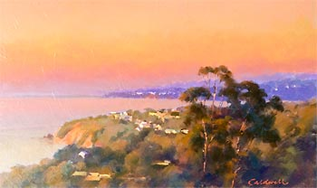 Oil painting of a coastal scene at sunset looking across a bay from bushy cliffs with a scattering of houses amongst the vegetation.
