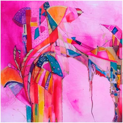 Abstract painting in vivid pinks with multiple accent colours.
