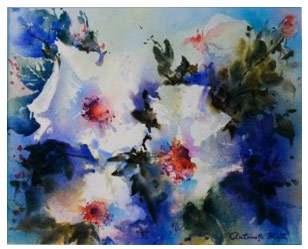 Watercolour painting of white flowers against a blue background.