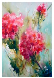 Watercolour painting of pink flowers