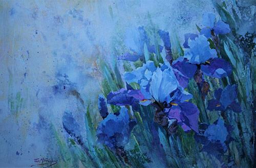 Painting of blue bearded irises