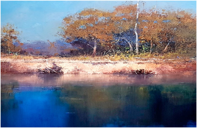 River landscape oil painting by John Bredl - water in foreground andtrees on far bank