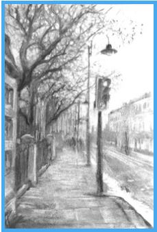 Black and white streetscape sketch by Nic Kirkman
