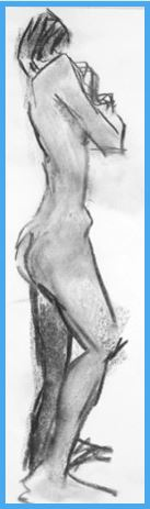 Black and white figure sketch of a woman