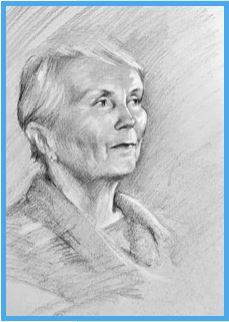Black and white portrait sketch of an elderly woman