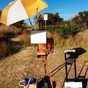 Plein air setup - easel, umbrella, painting, canvas, bags