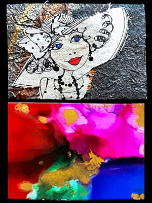 Artist trading cards featuring a cartoon drawing of a lady in a large hat with textured background, and a brightly coloured abstract ink painting